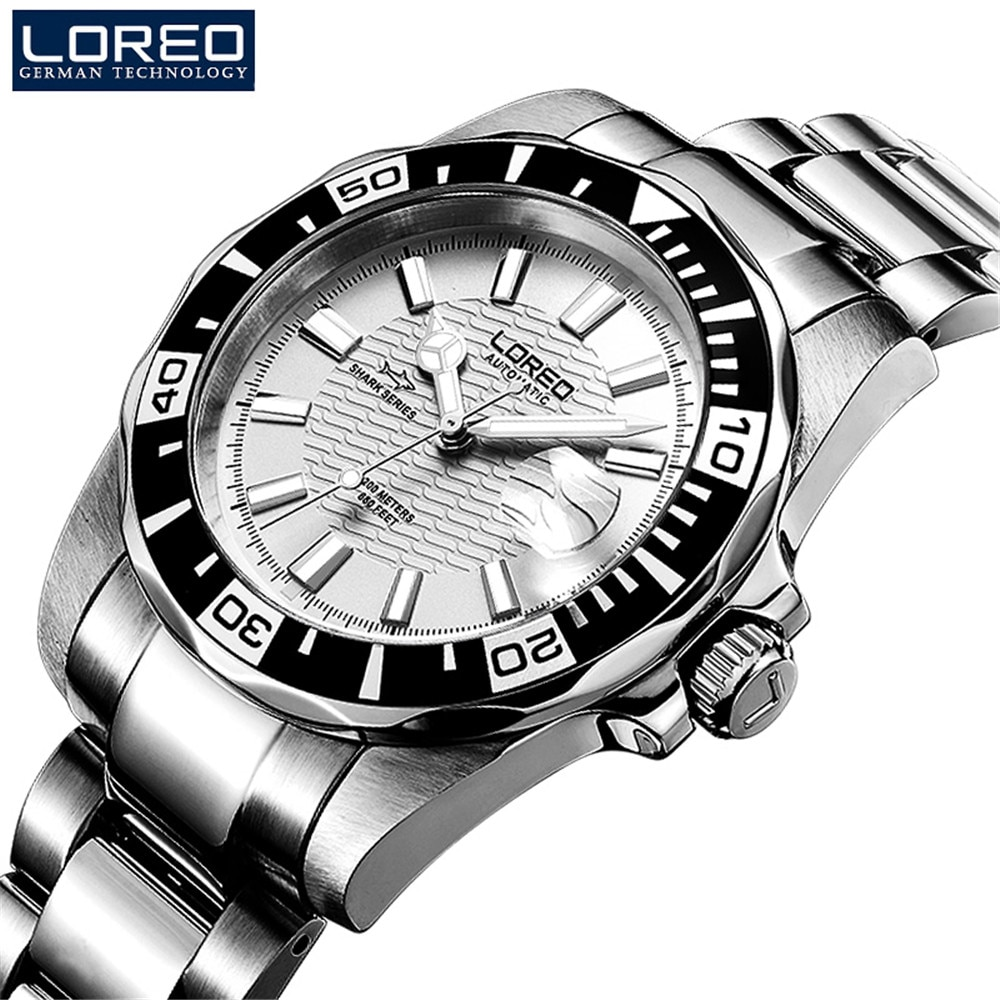 loreo sapphire automatic mechanical watch men stainless steel waterproof auto date nylon watch relogio masculine ab2036 LOREO Imported Movement Mechanical Watches Mens Sapphire Glass 200m Waterproof Stainless Steel Military Automatic Watch Relogio