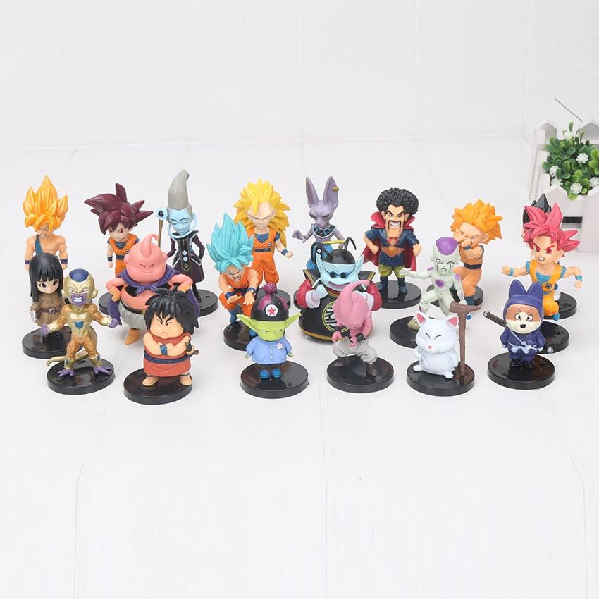 Dragon Ball Z figuras de acción juguetes 20 unids/set hijo de Goku Vetega Majin Buu el gran freezer Beerus Whis Mark Karin Gotenks