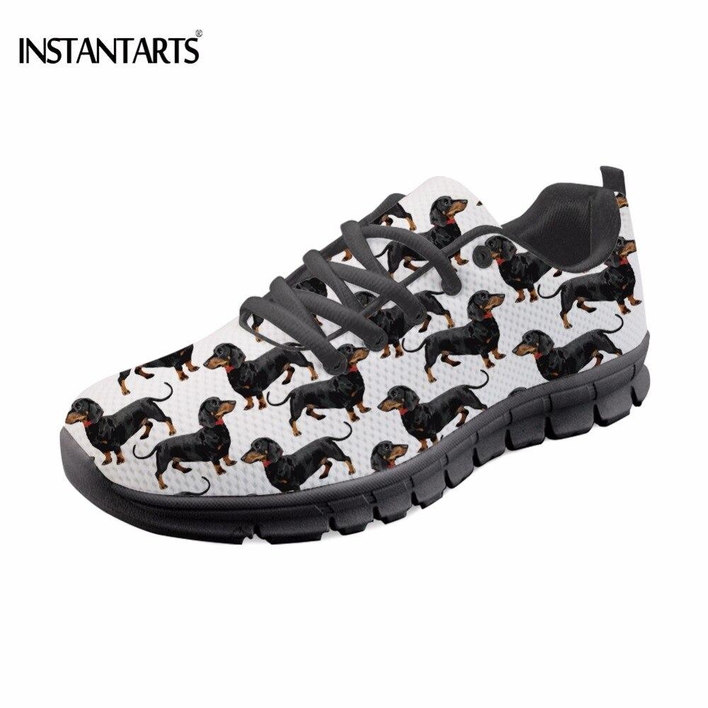 Instantets Cute 3D Animal Dachshund/enfermera oso estampado de encaje-up zapatilla de deporte para chica adolescente transpirable zapatos planos de malla mujer Loafer plano