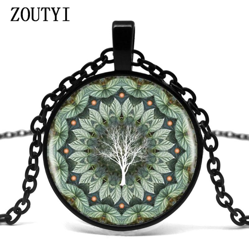 2018/ eucalyptus flower plant mandala logo glass pendant necklace mandala flower picture vintage necklace female necklace.