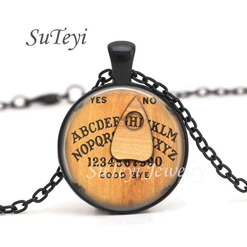 SUTEYI moda tabla Ouija cabujón colgante de vidrio collar negro plata Color collar de cadena de joyería
