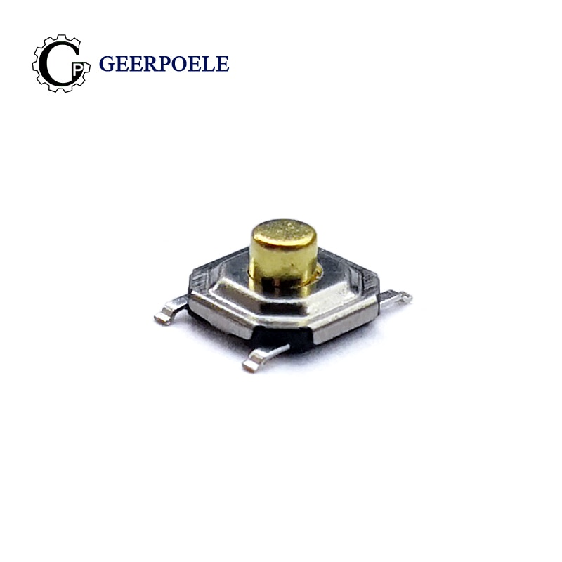 100 unids/lote 5,2*5,2*2,5mm 12V 0.5A Interruptor de botón SMT de 4 pines Interruptor táctil Micro táctil de Metal Interruptor de cobre