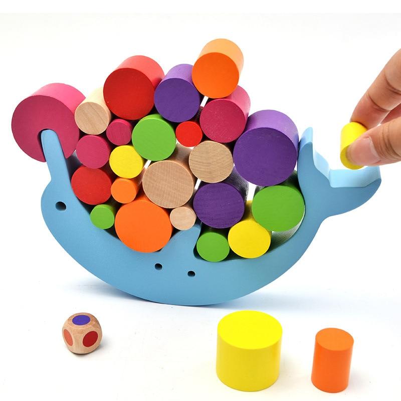 Juguetes de aprendizaje para bebés con marco de equilibrio educativo Montessori, bloques de madera de colores para el desarrollo temprano