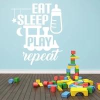 kids nursery room wall decal quotes eat sleep play repeat vinyl wall stickers for kids room playroom baby gift art mural diysy29