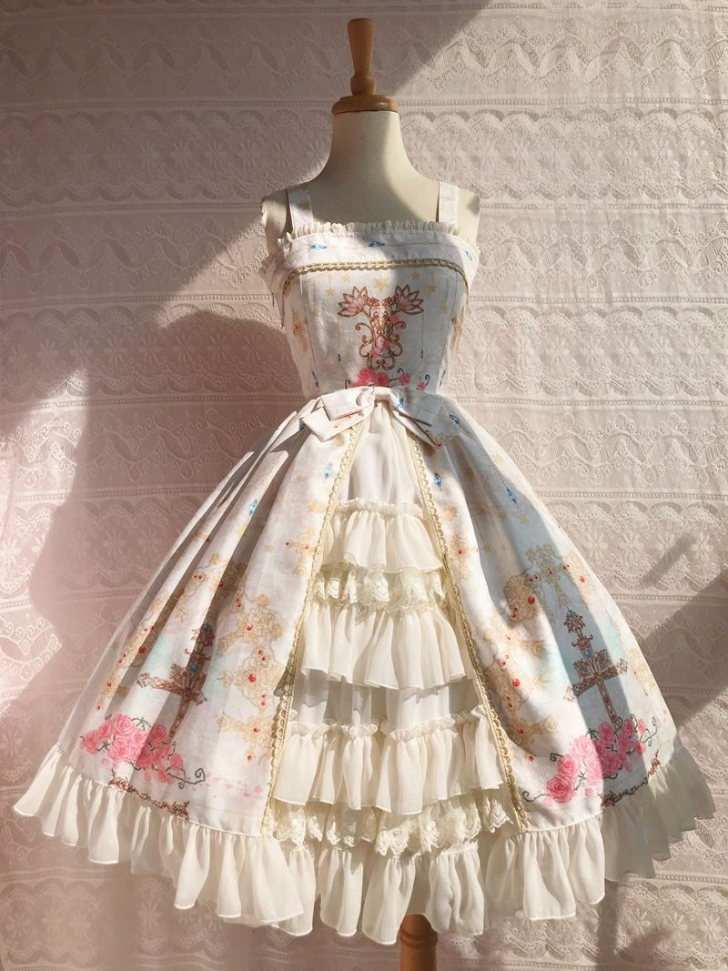 Adorable Vestido de Lolita bonito vestido estampado con correas de falda de Lolita JSK volantes en capas