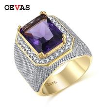 Hip hop grosse pierre hommes Bague haute qualité couleur or violet rose blanc jaune CZ anneaux taille américaine 8-12 Punk bijoux Bague homme Anel