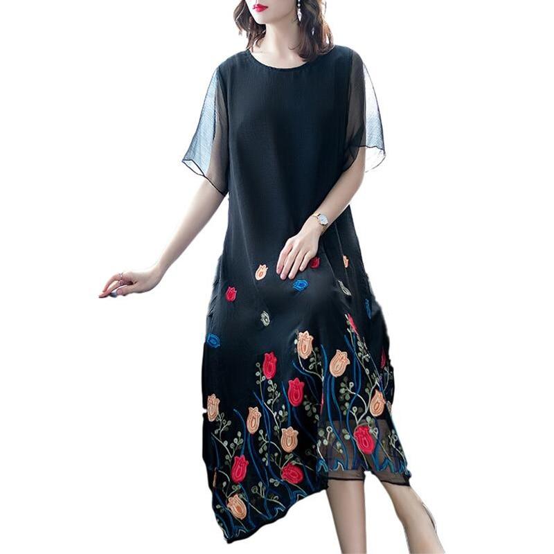 Nuevo vestido de seda de verano para mujer 2019, vestido largo informal con bordado Floral, vestido holgado de talla grande de media manga y cuello redondo, vestidos elegantes para mujer