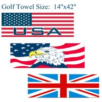 Golf Towel Clip Waffle 14''x42'' inch Comfortable Sports Hook to Bag Belt Soft UK/USA Flag Eagle Ball Towels Cleaner Finger Ten