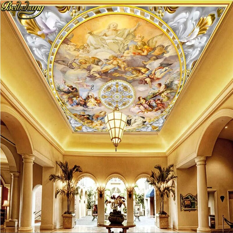 Papel tapiz beibehang de escritorio, papel tapiz 3d, papel tapiz de mural de techo, pintura occidental europea, cielo azul, Ángel, papel tapiz de foto, rollo