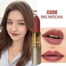 Maquillaje MYG, estuche de metal, Pintalabios profesional, Pintalabios mate color rojo nude, cosméticos para labios