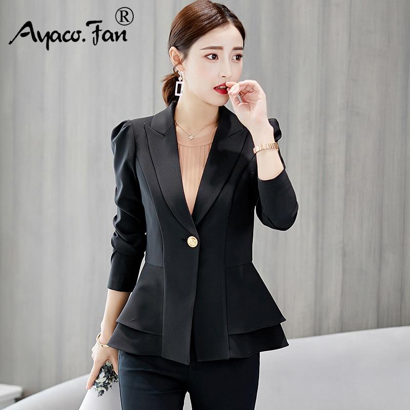 ¡Novedad de otoño 2019! Traje de mujer, trajes de manga larga, abrigo femenino, Blazer ajustado, chaqueta de oficina a la moda, Blazer femenina rosa, azul, blanco y negro.