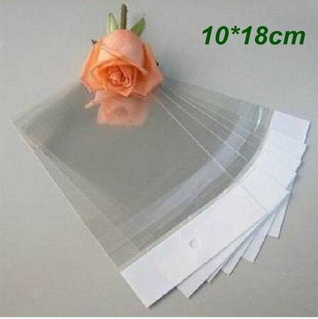 10*18CM bolsas de plástico autoselladas transparentes para embalaje de regalo para joyería bolsa autoadhesiva reutilizable bolsa de plástico de celofán 500 Uds