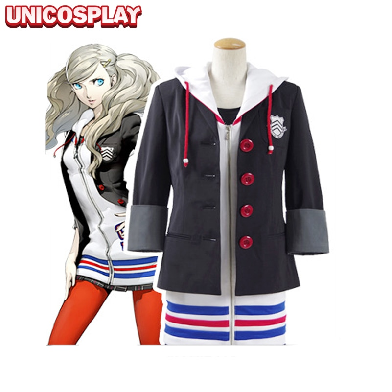 Persona 5 Ana Takamaki vestido Cosplay disfraz Navidad Halloween chaqueta abrigo falda camisa medias para mujer