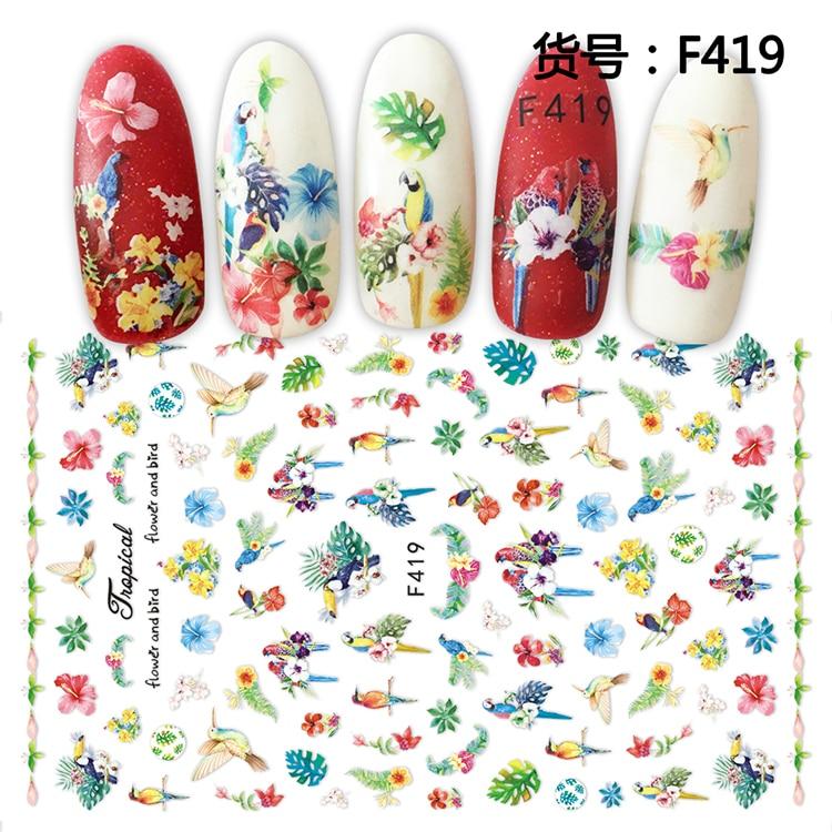 1 Uds 3D súper fino pegatinas de la punta de las uñas adhesivo para la decoración de uñas pegatinas de manicura herramienta de decoración oscura pájaro loro uñas Wraps F419