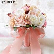 New Arrival dekoracje ślubne kwiat druhny bukiet de noiva bukiet ślubny sztuczny kwiat bukiet róż de mariage