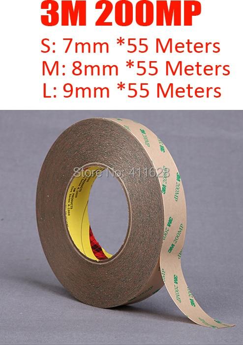 1x7mm (u 8mm/9mm) * 50M 3M 200MP PET cinta fuerte adhesiva transparente para Panel LED suave, PCB, goma, alta resistencia al calor, impermeable