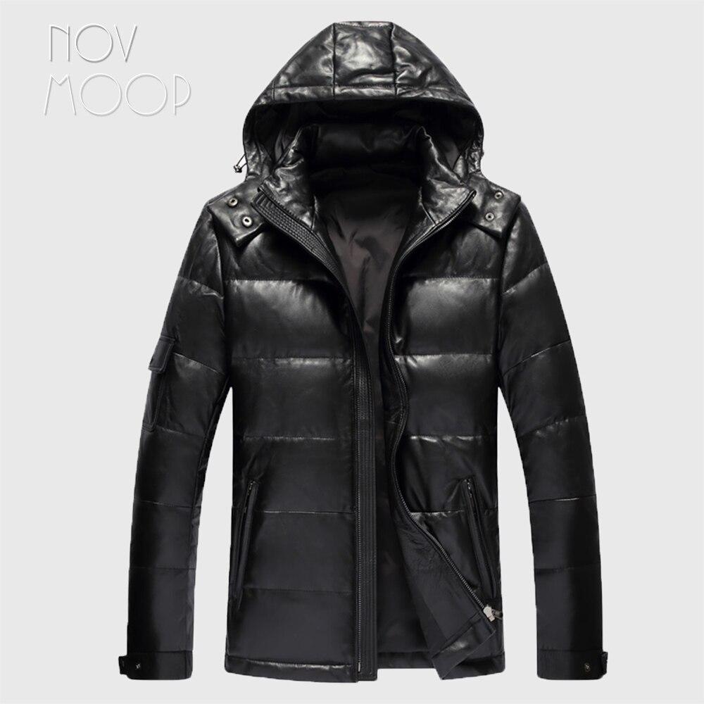 الرجال شتاء دافئ جلد طبيعي أسود حقيقي جلد الخراف بطة أسفل جاكت مزود بغطاء للرأس معاطف حجم كبير jaqueta de couro deri ceket LT2447