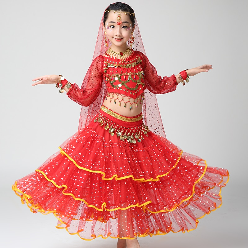 Girl Children Child Belly Dance Costume Bollywood Indian Bellydance Dancing Costumes 4pcs Sets Egypt Set Egyptian Clothing