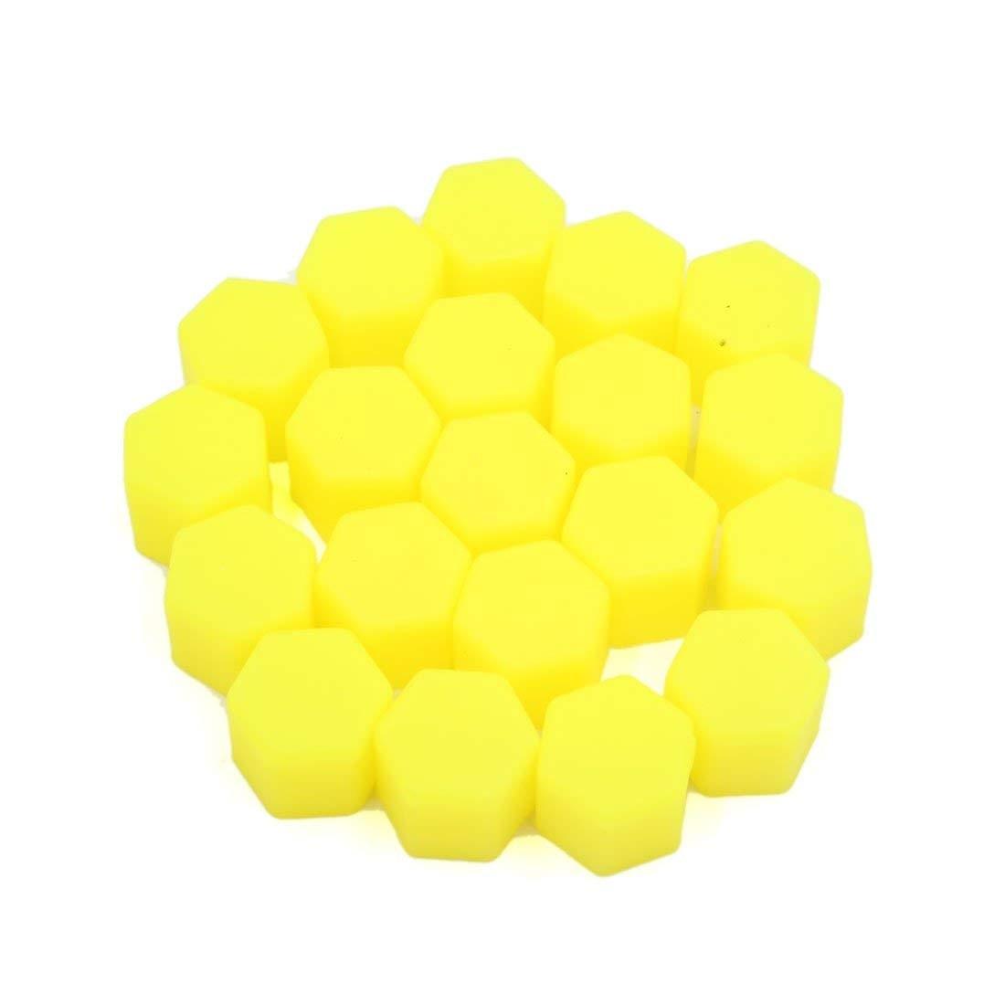 uxcell 20Pcs 19mm Yellow Luminous Car Wheel Lug Nut Bolt Hub Screw Cover Protective Cap