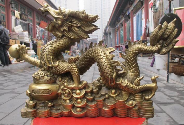 Chino Latón Puro Clásico Feng Shui Lucky lingote Dinero riqueza estatua Del Dragón