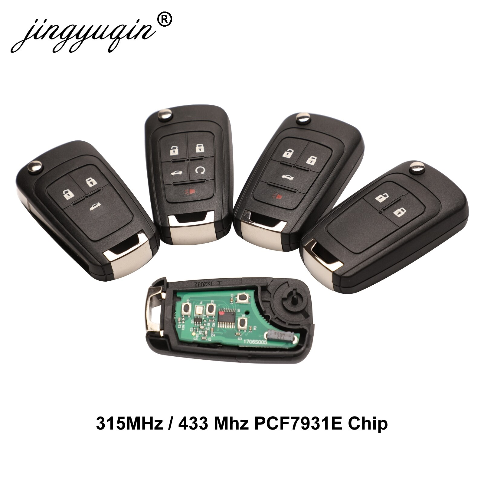 Jingyuqin Автомобильный Дистанционный ключ сигнализации для Chevrolet Cruze Epica Lova Camaro Impala 2/3/4 Кнопка 315 МГц/433 МГц ID46 PCF7931E чип-ключ