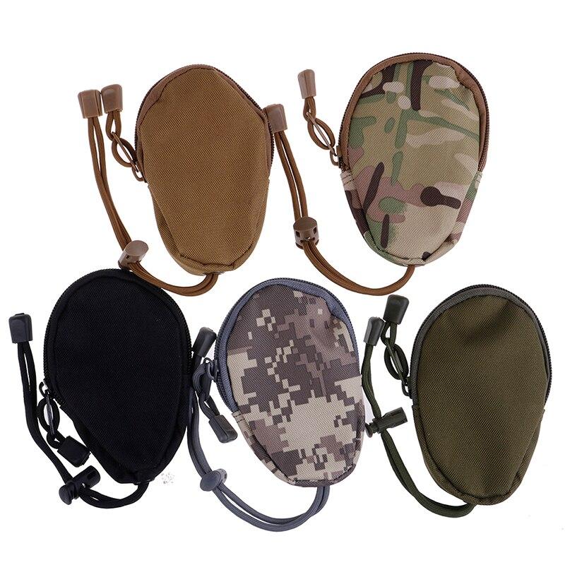 1 Uds. Monederos para hombre, Mini carteras de llave EDC, llavero de bolsillo pequeño, estuche de cremallera, bolsa para exteriores, bolsa de ejército militar