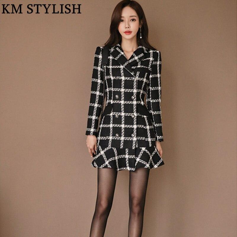 2018 otoño invierno nuevo coreano OL negro blanco Vestido de manga larga Mujer doble Breasted solapa Plaid cola de pez lana uno- vestido de pieza