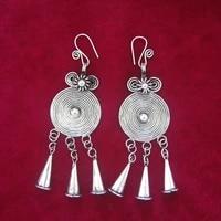 hot sale new stylehot miao township dongzhai ethnic style retro earrings handmade miao silver earrings gourd flower