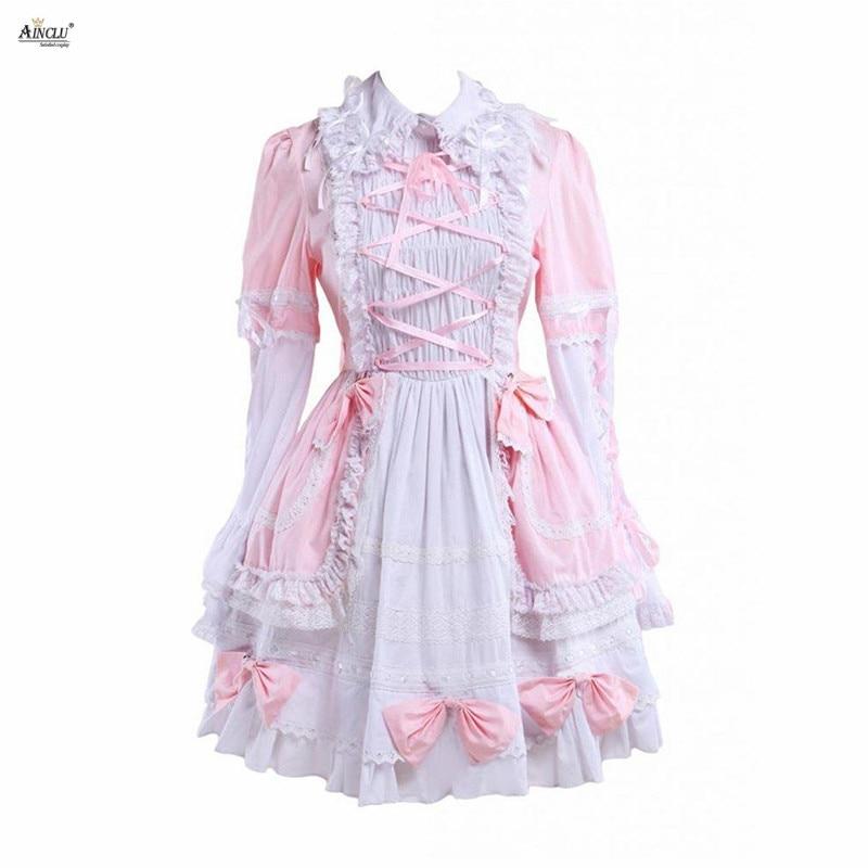 Süße Lolita Kleid Frauen Baumwolle Rosa & White Lange Ärmeln Glocke Boden Netter Mädchen Lolita Kleid/Cosplay Kostüme XS-XXL party Club