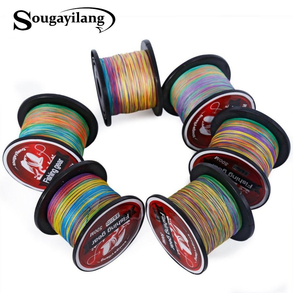 Sougayilang Braid Fishing 0.4-8# Braided Fishing Line Super Strong Multicolour Pe Material Line Multifilamento 500 M