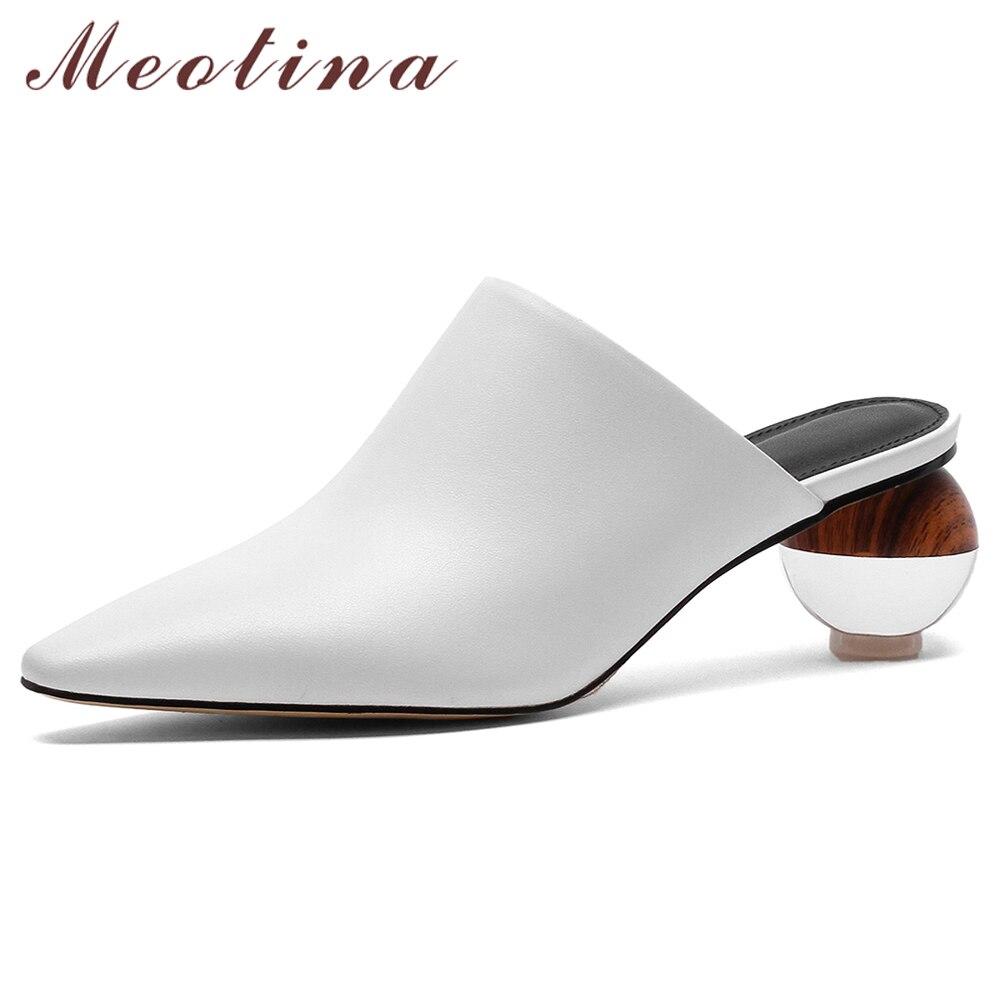 Meotina-حذاء مفتوح صيفي من جلد البقر الطبيعي للنساء ، حذاء بكعب ، حذاء شفاف ، صندل نسائي ، مقاس 43