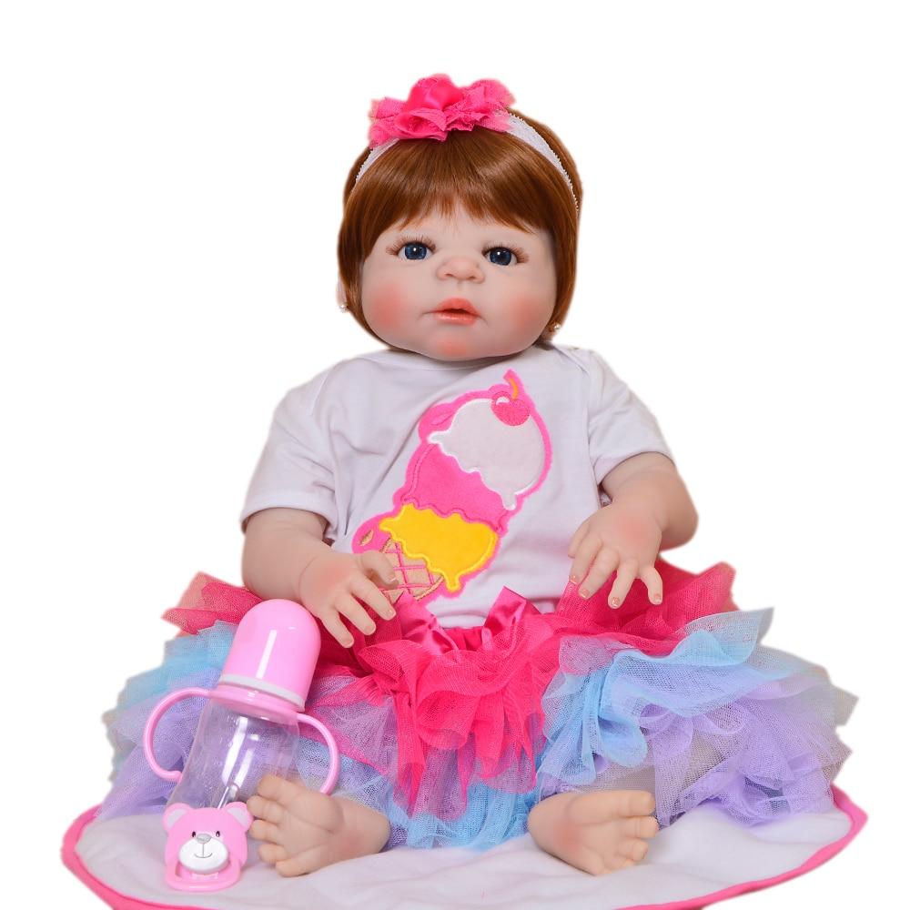 "23"" Full Silicone Reborn Girl Baby Doll Toy Lifelike handmade baby toddler infant dolls baby Child play house boneca kid toys"