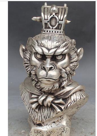 "decoration copper silver factory 11"" China Silver Zodiac Year King Sun Wukong Moneky King Head Bust Buddha Statue"