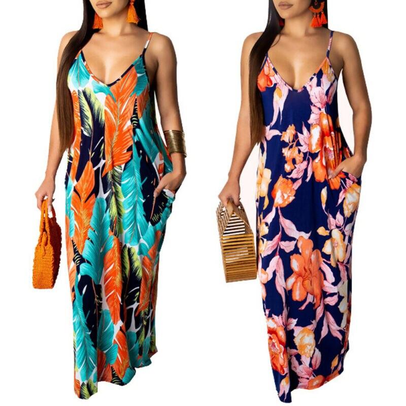 Women Boho Maxi Long Dress Sleeveless Spaghetti Strap Flower V-Neck Loose Dress Street Beach Dresses Plus Size