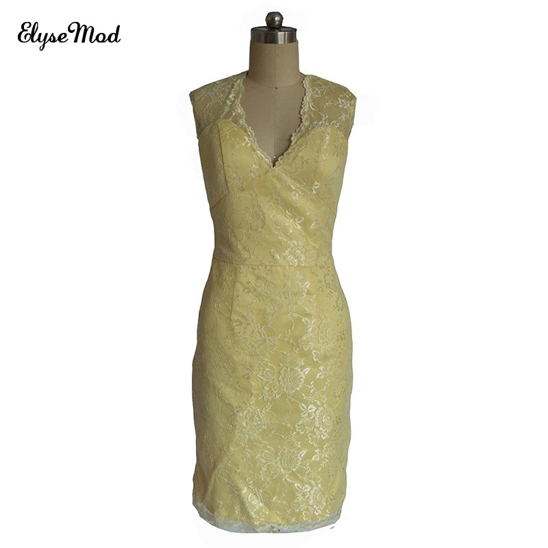 فستان سهرة طويل من الدانتيل الأصفر للنساء ، صورة حقيقية ، ياقة على شكل v ، أكمام ، ظهر مفتوح ، ميني ، فستان كوكتيل