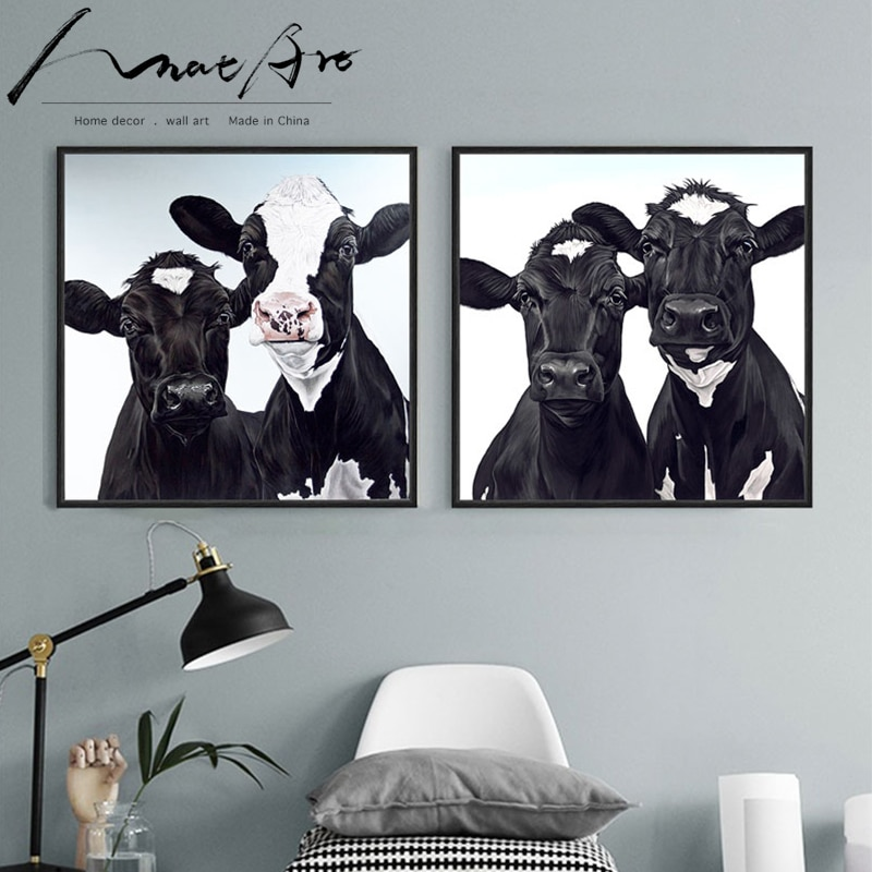 Gado Vaca Preta Animais Nórdico Cópia Do Cartaz Da Arte Da Parede Da Lona preto e branco sala de estar decoração imagem Quadrada