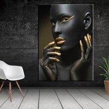 Afrikanische Frau Mit EINEM Gold Kopftuch Wand Kunst Leinwand Gemälde Moderne Schwarz Mädchen Kunst Poster Dekor Leinwand Drucke Für Wohnzimmer zimmer