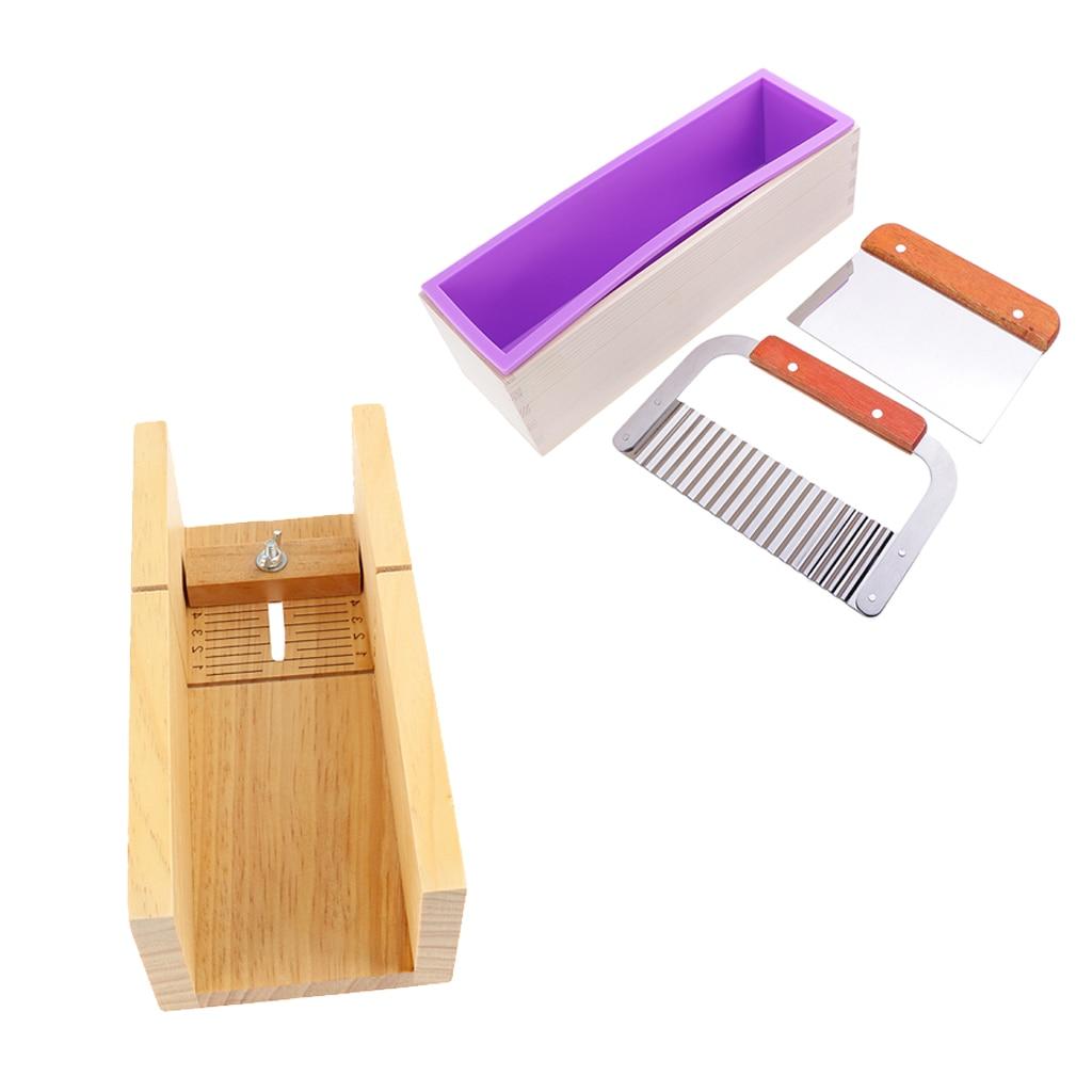 4pcs/set Soap Making Tools Kit, Wooden Soap Cutting Mould + 2pcs Soap Cutter + Silicone Soap Making Loaf Mould