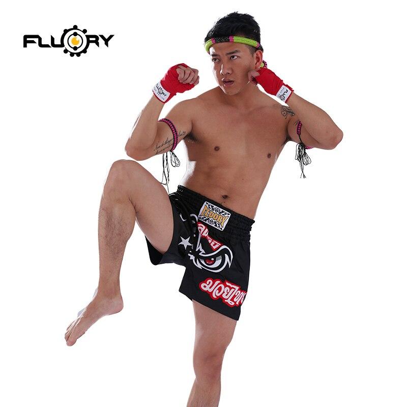 Fluory mtsf03 novo design bordado muay thai shorts caixa gato boxing shorts