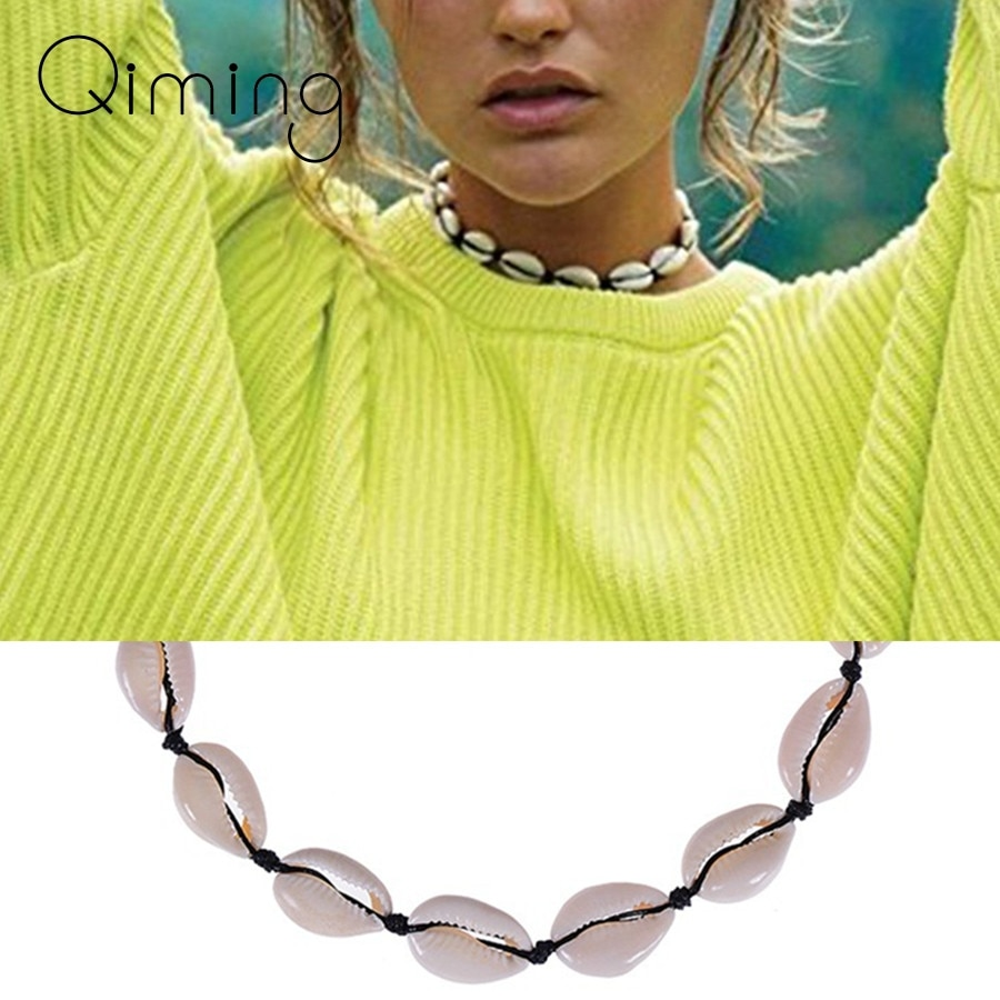Collar gargantilla de concha marina Natural, Collar de cadena de cuerda negra para mujer, Collar bohemio, Gargantilla, joyería para verano, regalo de playa