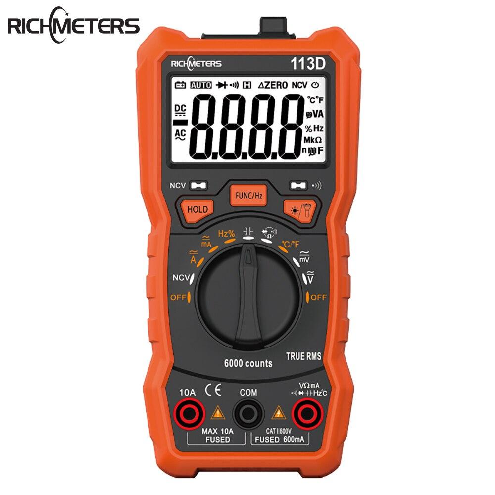 RICHMETERS multímetro Digital RM113D NCV 6000 cuentas medidor de voltaje de CA/CC de rango automático luz de Flash luz de fondo diodo de pantalla grande