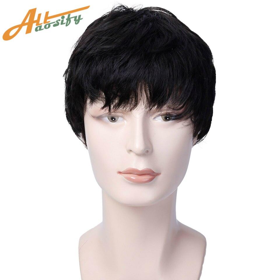 Парики Allaosify мужские, короткие прямые волосы, 3 вида цветов, натуральные синтетические волосы, термостойкие, для косплея
