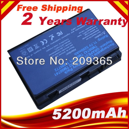 Batería para ACER Extensa 7620G 5220, 5210, 5230, 5420G 5610, 5620, 5630, 7220, 7620 5620Z 5610G 5630G GRAPE32 TM00741 TM00751 tm00742