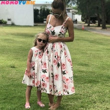 Family Look Women Matching Mother And Daughter Clothes Sleeveless Floral Dress For Mommy And Me Kids