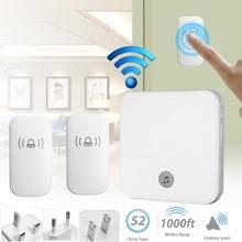 New Wireless Doorbell Waterproof 1000ft Remote EU UK US Plug smart Door Bell 52 Chimes battery 2 button 1 receiver AC