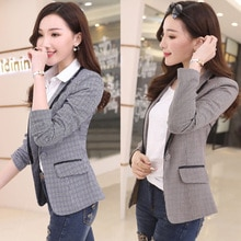 J67690 Women Plaid Blazers and Jackets Suit Ladies Long Sleeve Work Wear Blazer Plus Size Casual Fem