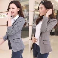 J67690 Women Plaid Blazers and Jackets Suit Ladies Long Sleeve Work Wear Blazer Plus Size Casual Fem