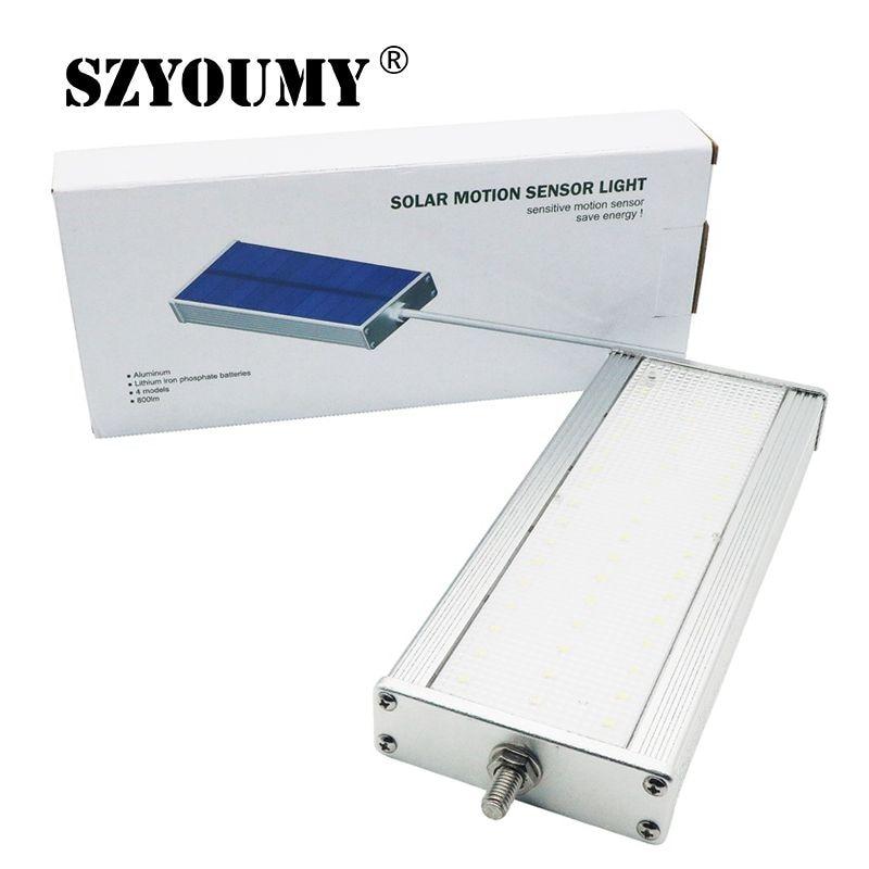 SZYOUMY impermeable 48 LED luz Solar jardín exterior luz 2835 SMD Radar de microondas movimiento farola lámpara de pared