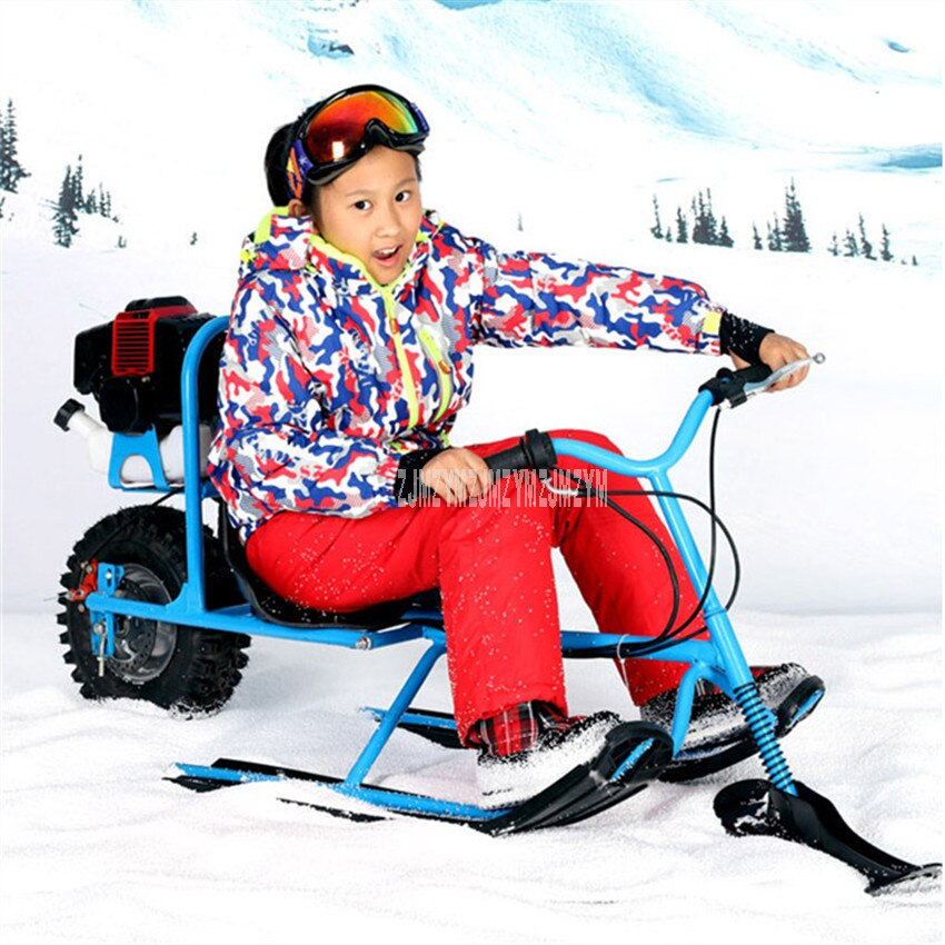 Niños Snowmobile esquí Snowboard gasolina combustible con freno de disco profesional esquí motocicleta trineo niños esquí tablero 570108