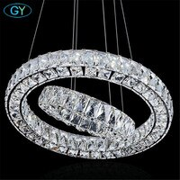 Modern 2 Rings led lustres chandeliers Chrome Mirror Finish Stainless Steel lampadari moderni DIY Hanging lampen fixture